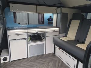 The interior of the Calder Campers Renault Trafic Auto campervan
