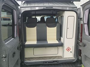 With the rear doors open in the Calder Campers Renault Trafic Auto campervan