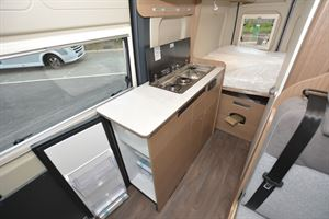 The kitchen in the Carado V600 Clever + Edition campervan