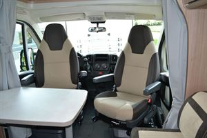 The cab seats in the Carado V132 motorhome