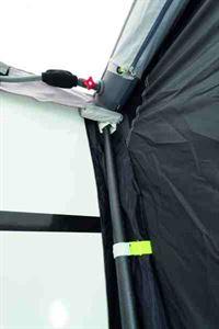 Carbon fibre poles keep the caravan side pad in place
