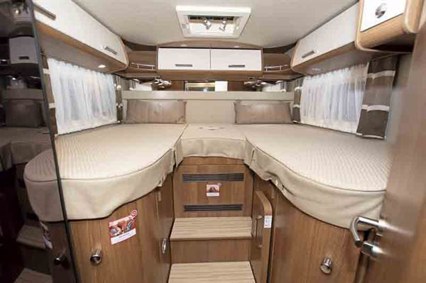 The fixed beds in the Carthago C-tourer - © Warners Group Publications