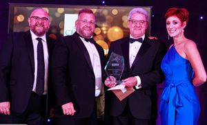 At the Pembrokeshire Business Awards are (from left) Coronation Street actor and awards host Charles Dale; Celtic Parks MD Huw Pendleton; Pembrokeshire County Council leader David Simpson, and singer and awards host Connie Fisher