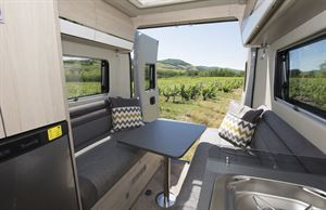 The rear lounge in the Chausson 33 Line V594 motorhome