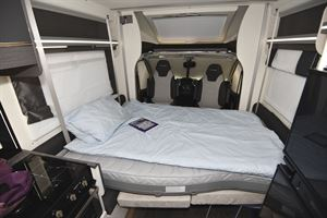 The double bed in the Chausson 520 motorhome