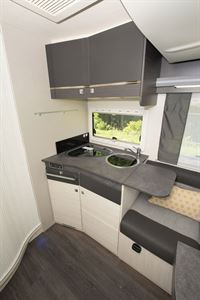 The kitchen in the Chausson 520 motorhome