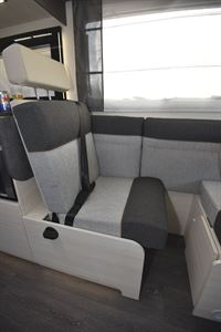 One of four belted travel seats in the Chausson 520 motorhome