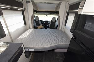 The drop down bed in the Chausson 650 motorhome