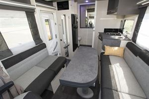 The lounge in the Chausson 650 motorhome