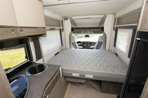 The lounge bed in the Chausson 720 motorhome