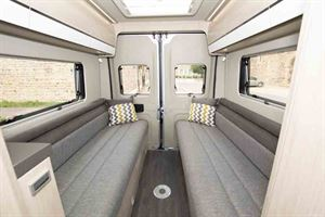 The impressive rear lounge, with seating in day mode