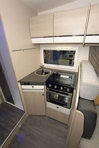 The kitchen in the Chausson C717GA motorhome
