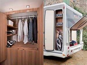 Chausson's 610 with a big front lounge and this rear external storage/wardrobe design