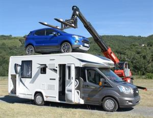 Putting a car on top of a 2016 Chausson to demonstrate its IRP build system