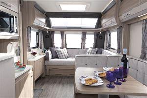 A view of the interior in the Coachman Acadia Xcel 830 caravan