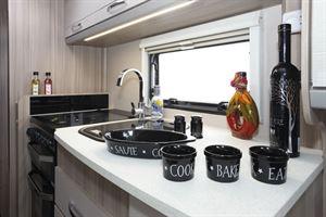 The kitchen in the Coachman Acadia Xcel 830 caravan