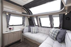 The lounge in the Coachman Acadia Xcel 830 caravan