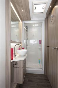 The shower and washroom in the Coachman Acadia Xcel 830 caravan