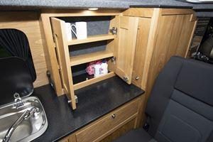 Cupboard storage in the Rolling Homes Columbus S campervan