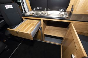 Drawers and kitchen storage in the Rolling Homes Columbus S campervan