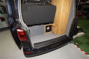A rear view of the Rolling Homes Columbus S campervan