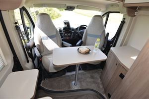 The cab area in the Compass Avantgarde CV60 campervan