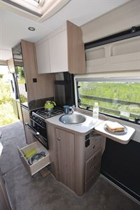 The kitchen in the Compass Avantgarde CV60 campervan