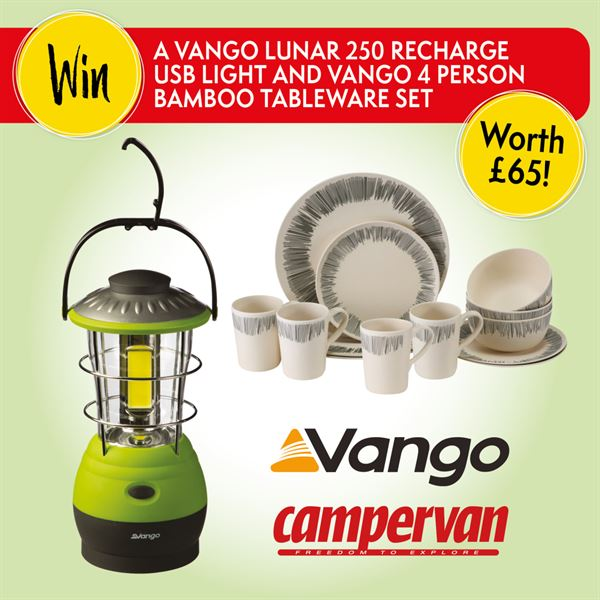 Win a Vango USB light and tableware set for your campervan!