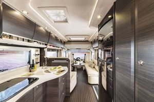 A view of the kitchen in the Concorde Liner Plus motorhome
