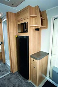 Elddis Crusader Zephyr fridge and TV shelf