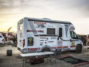 A Laika motorhome all set for the Dakar races