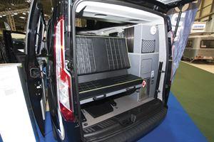 With the rear doors in the Danbury Raven campervan open