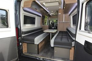 The rear doors of the Danbury Avenir 63 LG campervan open
