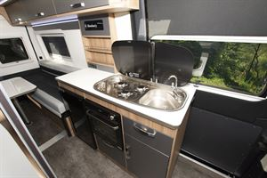 The kitchen in the Danbury Avenir 63 LG campervan