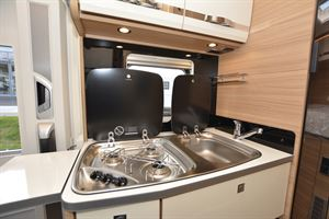 Close up of the kitchen in the Dethleffs Globebus T 1 motorhome