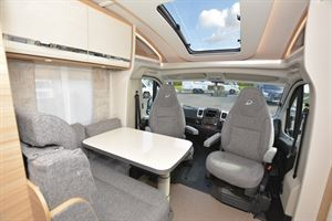 The lounge in the Dethleffs Globebus T 1 motorhome