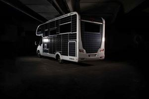 The all-electric motorhome has 31sqm of solar panels - not much use in the dark though