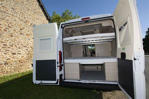 Rear doors open in the Dreamer D53 Fun campervan