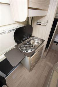 The kitchen in the Dreamer D53 Fun campervan