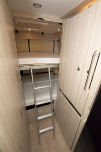 Ladder access to the top bunk bed in the Dreamer D53 Fun campervan
