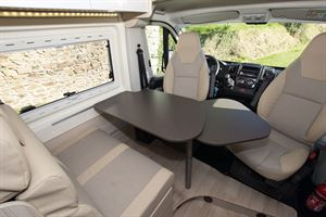 With table extended in the Dreamer D53 Fun campervan