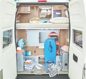 Dreamer Motorhome interior with Bunk Beds