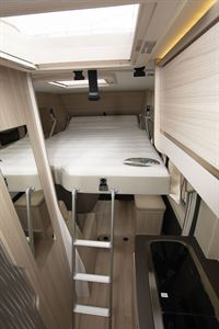 The top bed in the Dreamer Camper Five campervan
