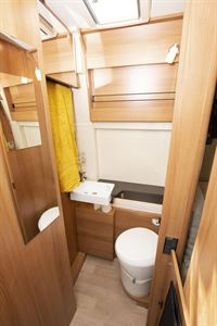 The washroom in the Dreamer Living Van campervan