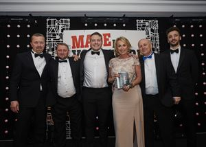 Andrew Jackson, Richard Elsey, Tom, Liz and Alan Colleran - all from Duvalay - are pictured here with awards presenter Josh Baterip of Vanilla Tech Solutions