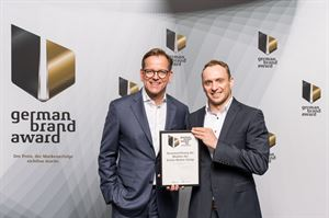 Erwin Hymer Group Winner of the German Brand Award 2018 Stefan von Terzi (left), Head of Erwin Hymer Group Marketing & Communications Andreas Ortlieb (right), Erwin Hymer Group Marketing Operations (Photo: Lutz Sternstein/GBA About)