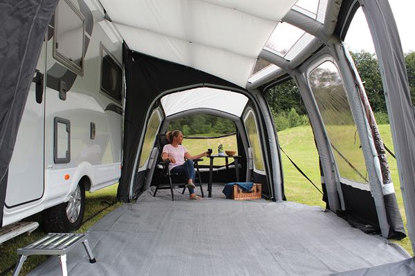 Enjoying the space of the Eclipse Pro 380L awning from Outdoor Revolution