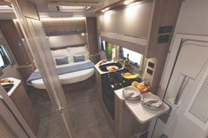 Elddis Autoquest 150 interior with Island Bed Layout