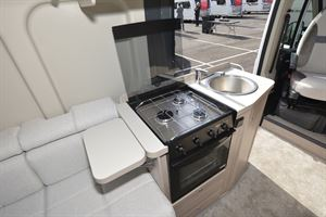 The kitchen in the Elddis Autoquest CV20 campervan