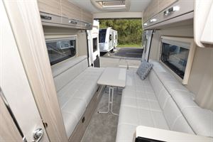 Side-facing sofa seating in the Elddis Autoquest CV20 campervan